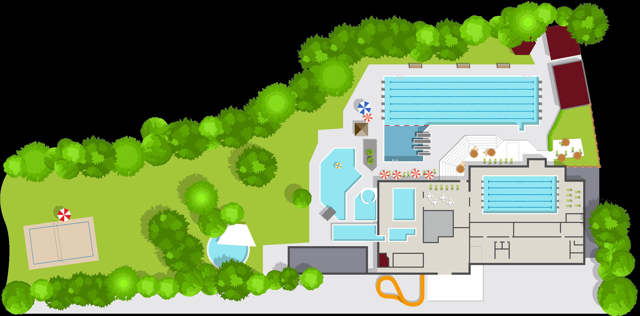 Plan des Geomaris mit den verschiedenen Becken